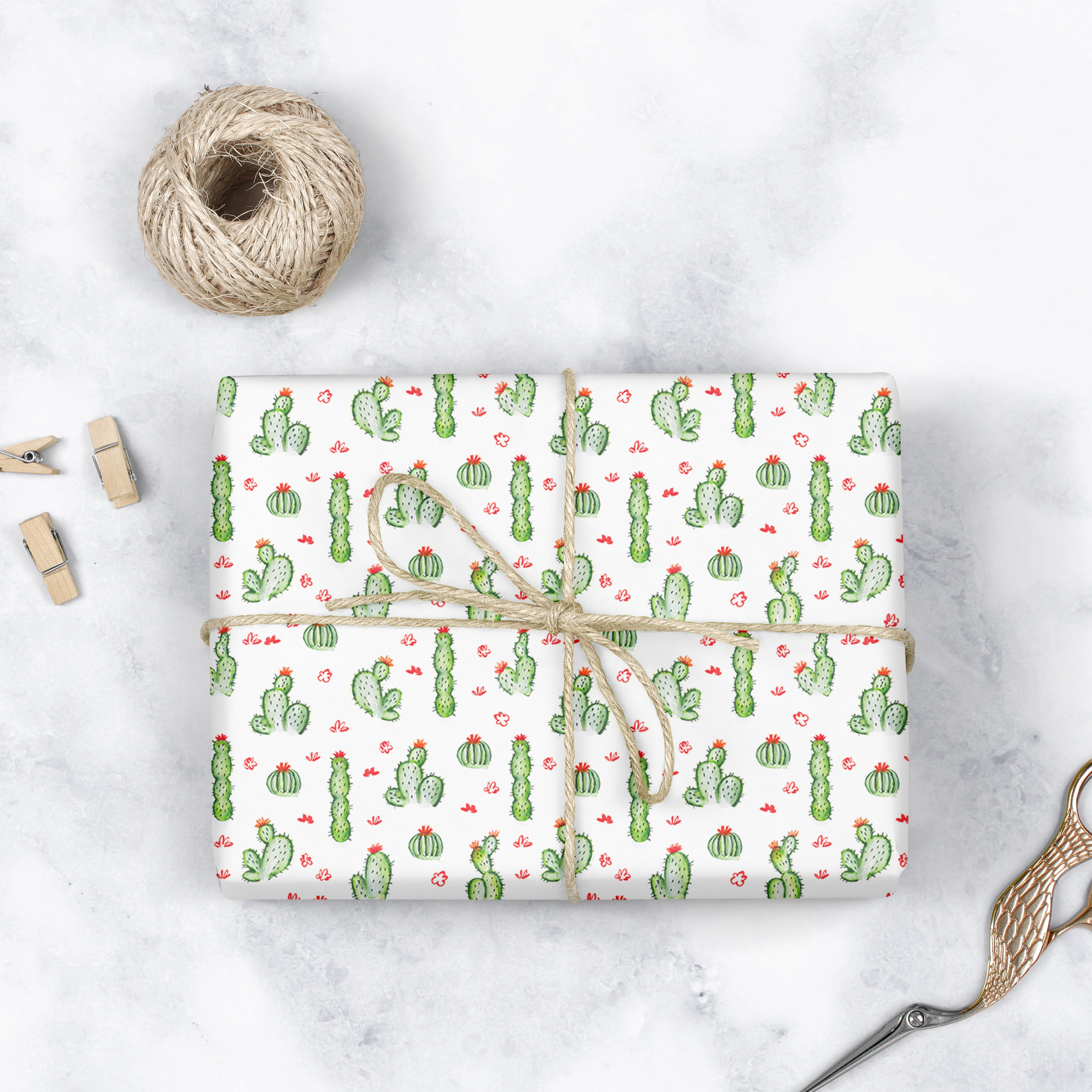 cactus wrapping paper roll