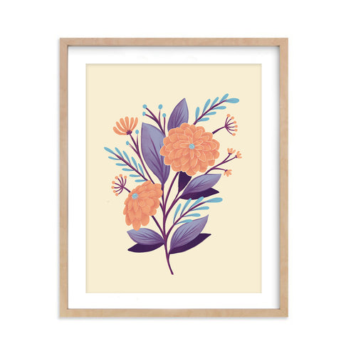 Orange Chrysanthemum Flowers - Art Print