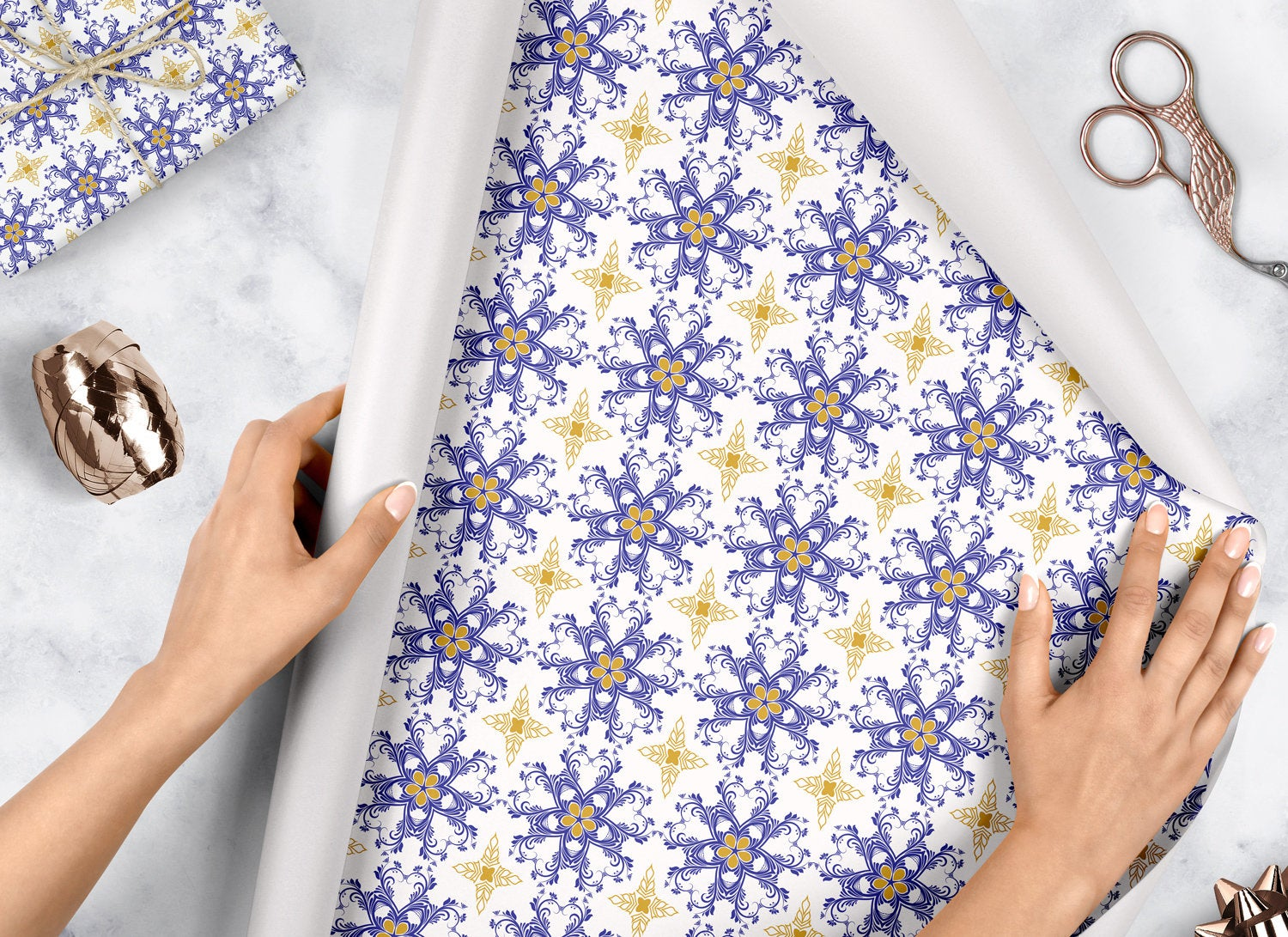 Blue Damask- Wrapping Paper