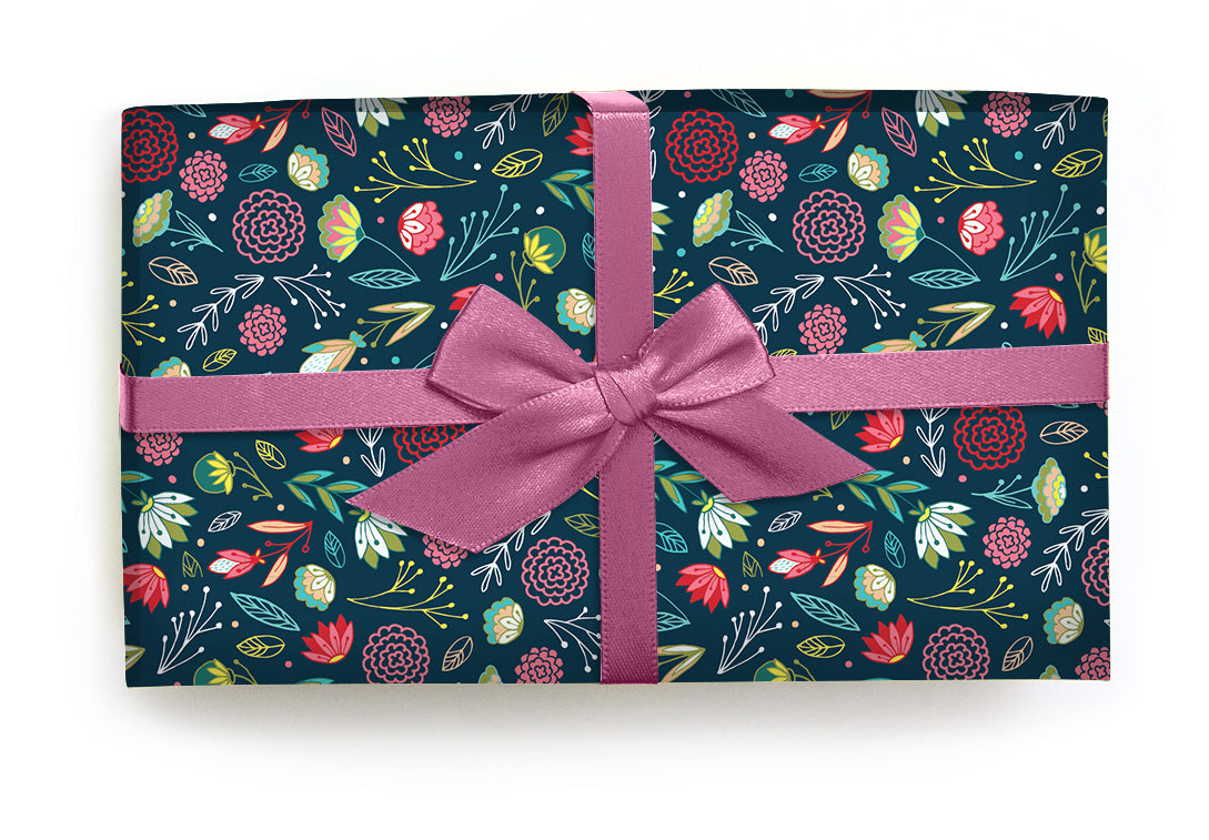 dark floral print gift wrapping paper