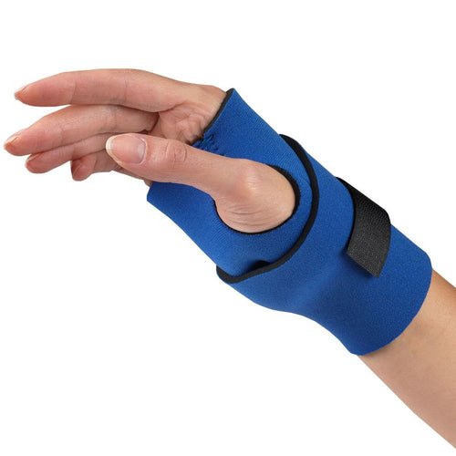 Side of NEOPRENE WRAPAROUND WRIST SUPPORT blue