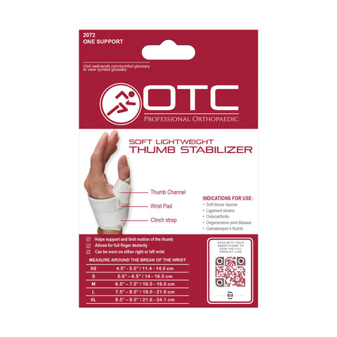 Back of SOFT THUMB STABILIZER packaging