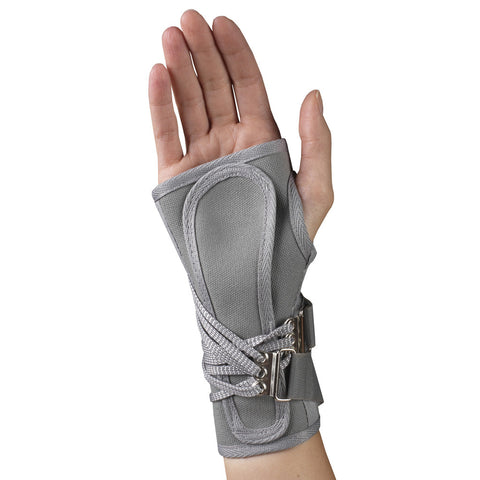 Rear of CANVAS COCK-UP WRIST SPLINT grey