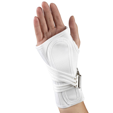 Rear of CANVAS COCK-UP WRIST SPLINT white