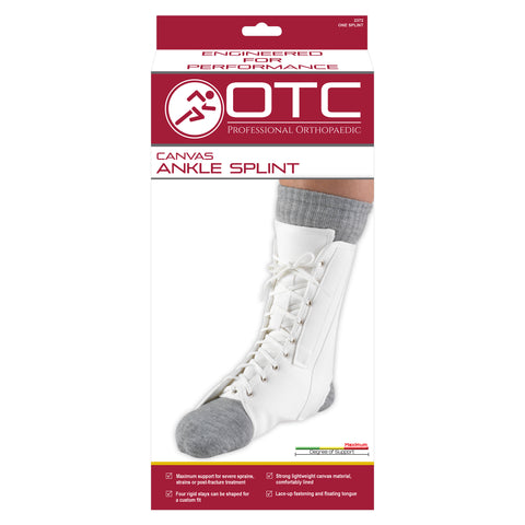 FRONT OF CANVAS ANKLE SPLINT PACKAGING