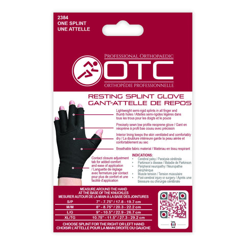 2384 Resting Splint Glove Packaging Back