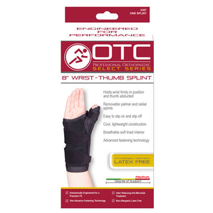 "Front packaging of SELECT SERIES 8"" WRIST-THUMB SPLINT"