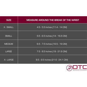 2389 / OCCUPATIONAL WRIST SUPPORT / SIZE CHART