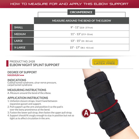 ELBOW NIGHT SPLINT SUPPORT size chart