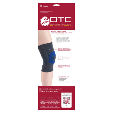 BACK OF KNEE SUPPORT WITH COMPRESSION GEL INSERT AND FLEXIBLE STAYS PACKAGING
