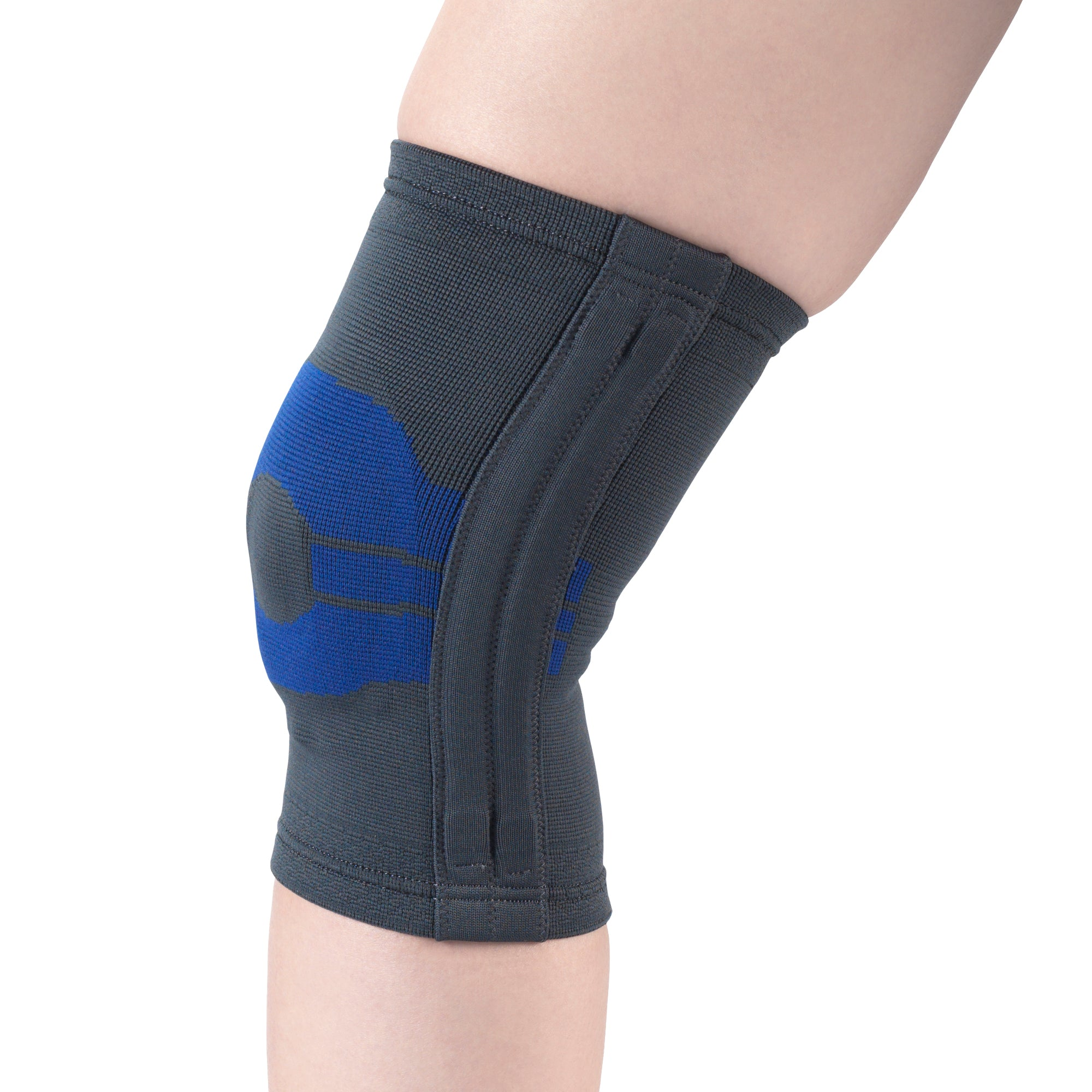 --Side of KNEE SUPPORT WITH COMPRESSION GEL INSERT AND FLEXIBLE STAYS --