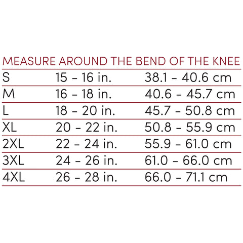 ORTHOTEX KNEE SUPPORT - STABILIZER PAD size chart