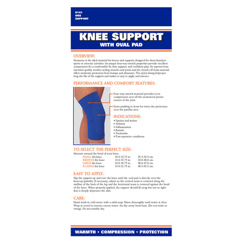 Rear packaging of NEOPRENE KNEE SLEEVE - OVAL PAD