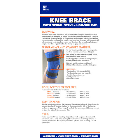 Rear package of NEOPRENE KNEE SLEEVE - HOR-SHU PAD, SPIRAL STAYS