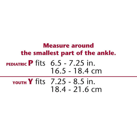KIDSLINE SLIP-ON ANKLE SUPPORT  SIZE CHART