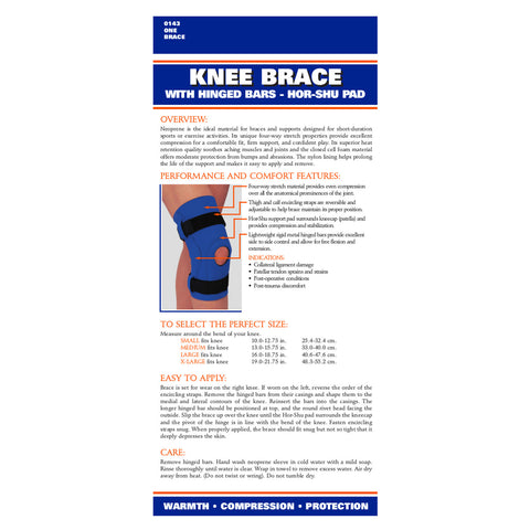 Rear package of NEOPRENE KNEE SLEEVE - HOR-SHU PAD, HINGED BARS
