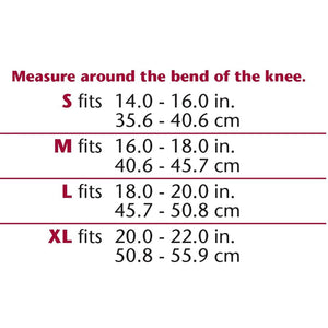 2425 / KNEE SUPPORT - VISCOELASTIC INSERT / SIZE CHART