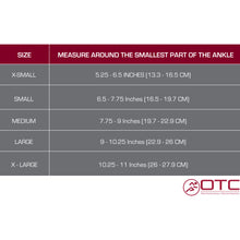 2372 / CANVAS ANKLE SPLINT / SIZE CHART