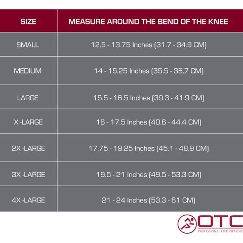 NEOPRENE KNEE SUPPORT - STABILIZER PAD size chart