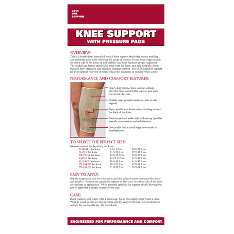 Rear packaging of KNEE SUPPORT - CONDYLE PADS