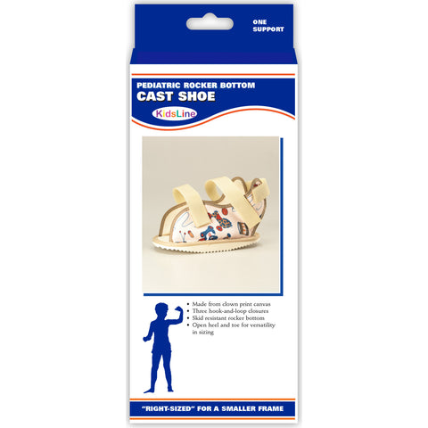 Front packaging of KIDSLINE CAST SHOE - PEDIATRIC PRINT