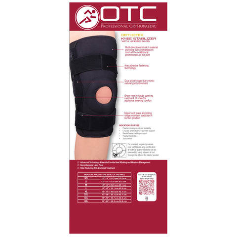 Rear packaging of ORTHOTEX KNEE STABILIZER - HINGED BARS
