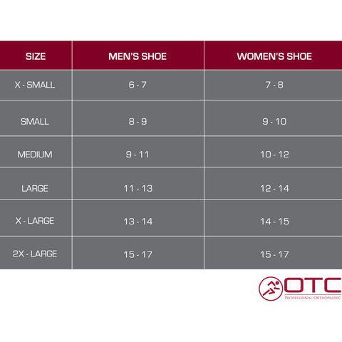HIGH PERFORMANCE ANKLE BRACE size chart