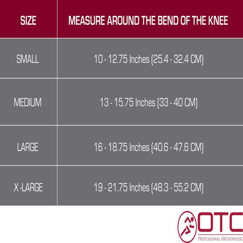 NEOPRENE KNEE SLEEVE - OVAL PAD size chart