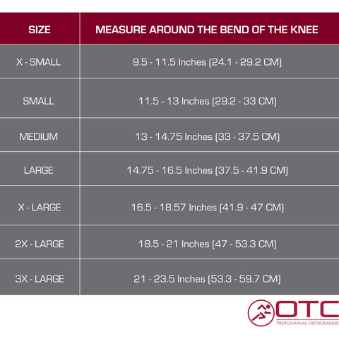 KNEE SUPPORT - SPIRAL STAYS size chart