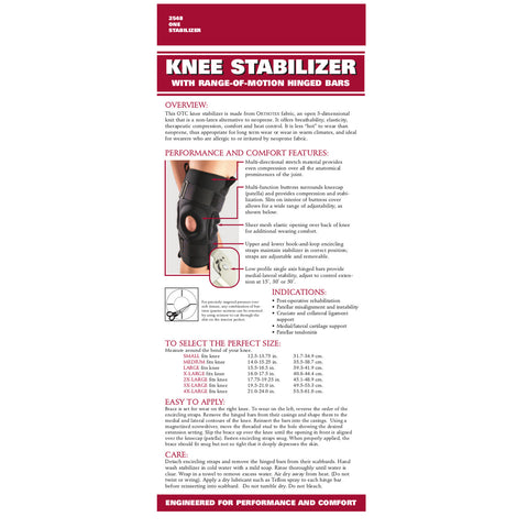 Rear packaging of ORTHOTEX KNEE STABILIZER - ROM HINGED BARS