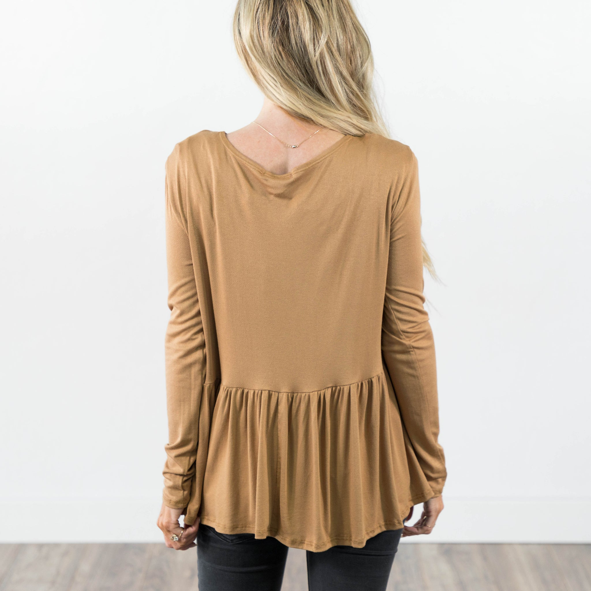 Laurette Baby Doll Top in Camel