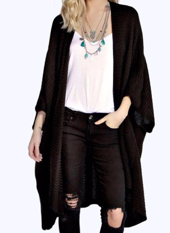 Ladies Oversized Baggy Rib-Knitted Cape Cardigan w/Pockets - Black