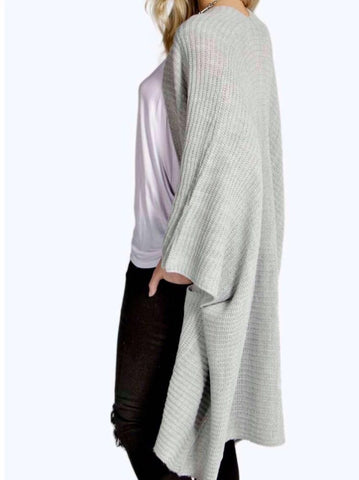 Ladies Oversized Baggy Rib-Knitted Cape Cardigan w/Pockets - Silver