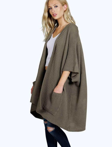 Ladies Oversized Baggy Rib-Knitted Cape Cardigan w/Pockets - Khaki