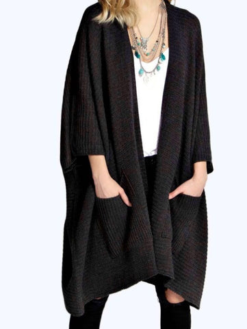 Ladies Oversized Baggy Rib-Knitted Cape Cardigan w/Pockets - Charcoal