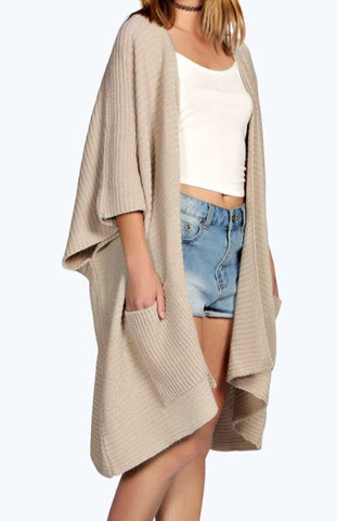 Ladies Oversized Baggy Rib-Knitted Cape Cardigan w/Pockets - Stone