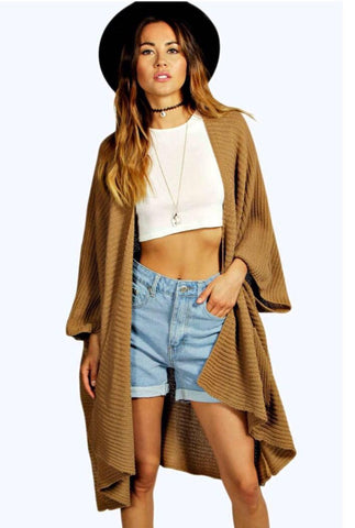 Ladies Oversized Baggy Rib-Knitted Cape Cardigan w/Pockets - Camel