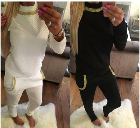 Ladies Gold Diamanté Trim Necklace Quilted Lounge Tracksuit (Top & Bottoms) Black