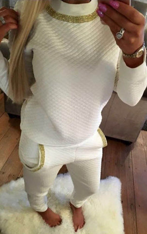 Ladies Gold Diamanté Trim Necklace Quilted Lounge Tracksuit (Top & Bottoms) Cream