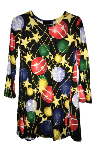 Kids Starry Bauble Christmas Tree Swing Dress Black