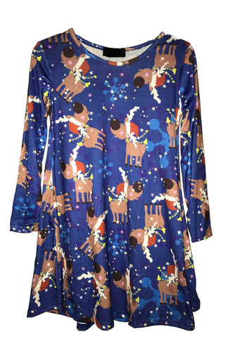 Kids Festive Reindeer Christmas Tree Swing Dress Blue