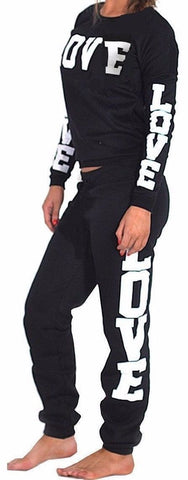 Women's LOVE Tracksuit Set Top & Bottoms Black