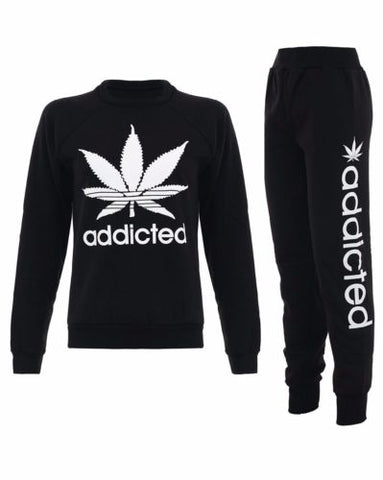 Women's Addicted Tracksuit Set Top & Bottoms Black