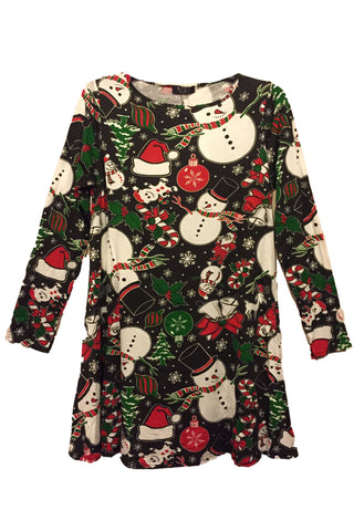 Kids Frosty & Candy Christmas Swing Dress Black