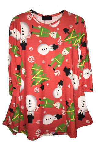 Kids Snowman & Elf Christmas Tree Swing Dress Red
