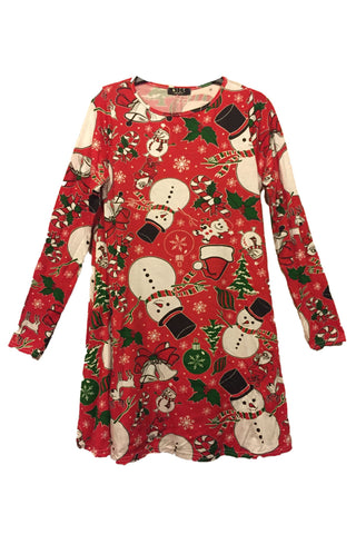 Kids Frosty & Candy Christmas Swing Dress Red