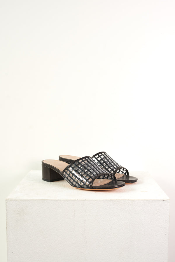 Agatha Slide Black Basket Weave
