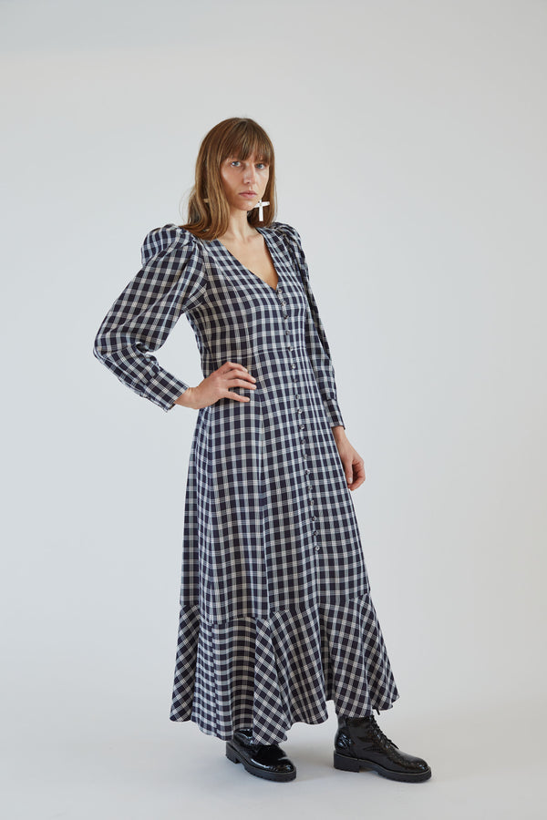 Penny Dress Navy Plaid