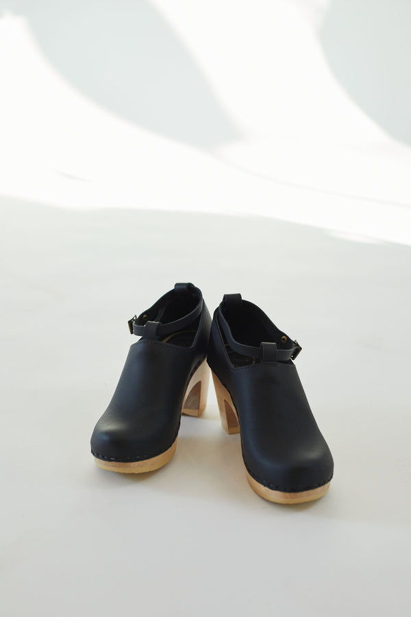 Classic Strap Clog on High Heel Black