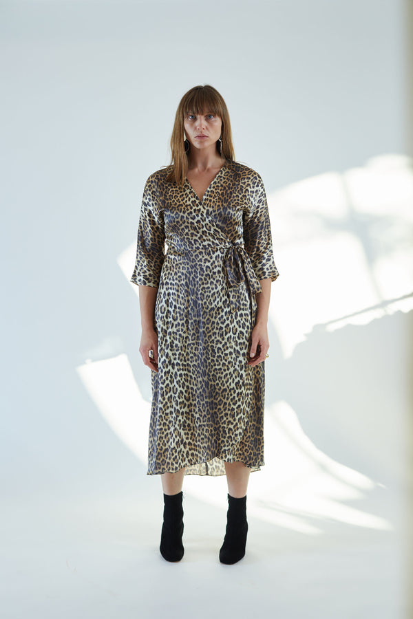 Georgia Wrap Dress Leopard Charmeuse